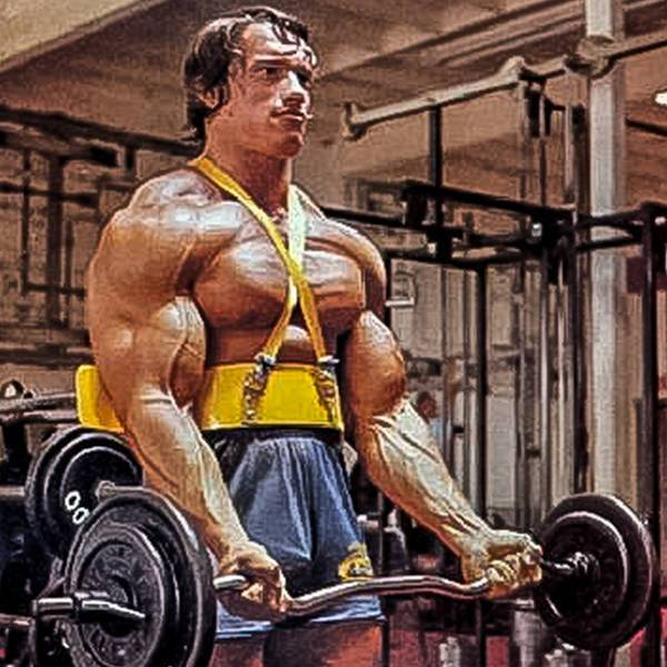 Arnold is using an arm blaster